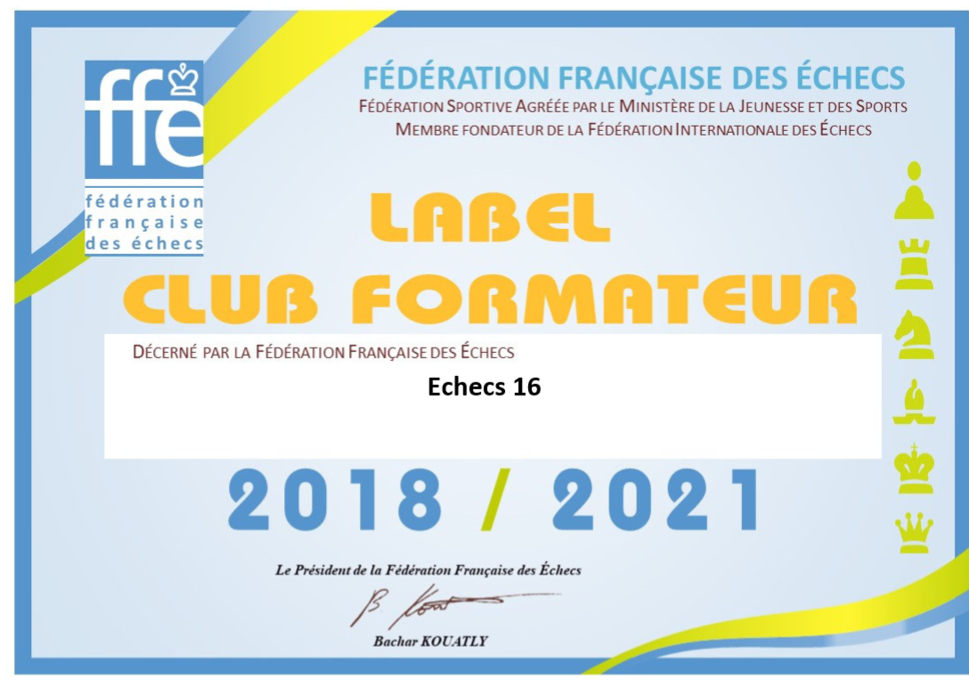 ECHECS 16 obtient le label Club Formateur